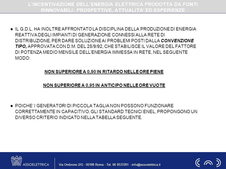 Via Ombrone 2/G - 00198 Roma - Tel. 06 8537281 - info@assoelettrica.it IL G.D.L. HA INOLTRE AFFRONTATO LA DISCIPLINA DELLA PRODUZIONE DI ENERGIA REATT