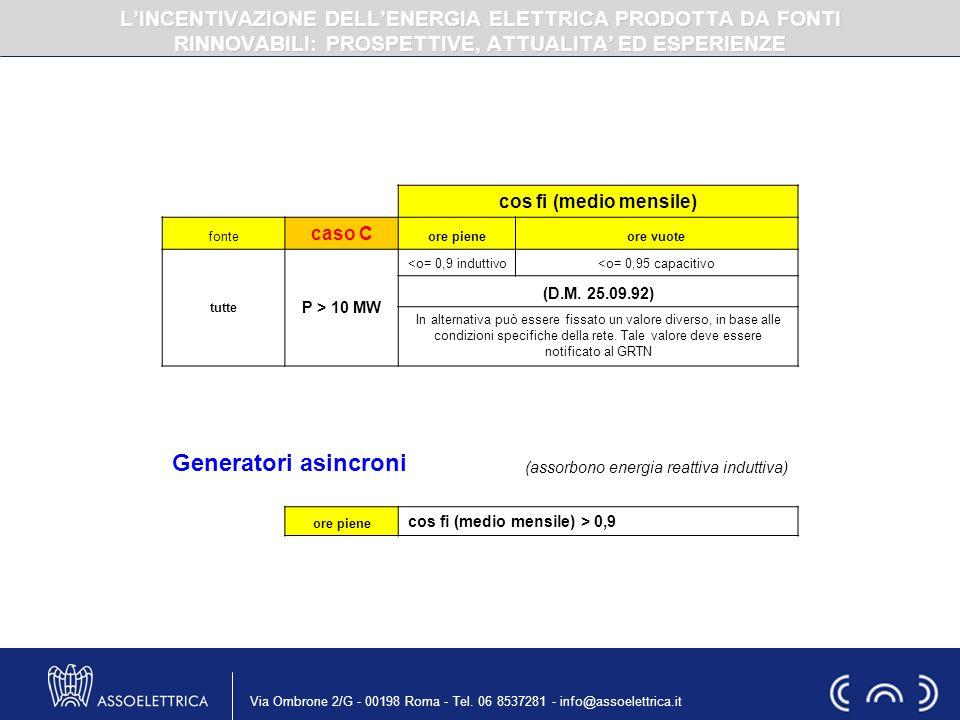 Via Ombrone 2/G - 00198 Roma - Tel. 06 8537281 - info@assoelettrica.it cos fi (medio mensile) fonte caso C ore pieneore vuote tutte P > 10 MW <o= 0,9