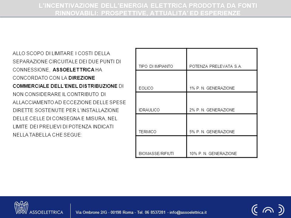 Via Ombrone 2/G - 00198 Roma - Tel. 06 8537281 - info@assoelettrica.it ALLO SCOPO DI LIMITARE I COSTI DELLA SEPARAZIONE CIRCUITALE DEI DUE PUNTI DI CO
