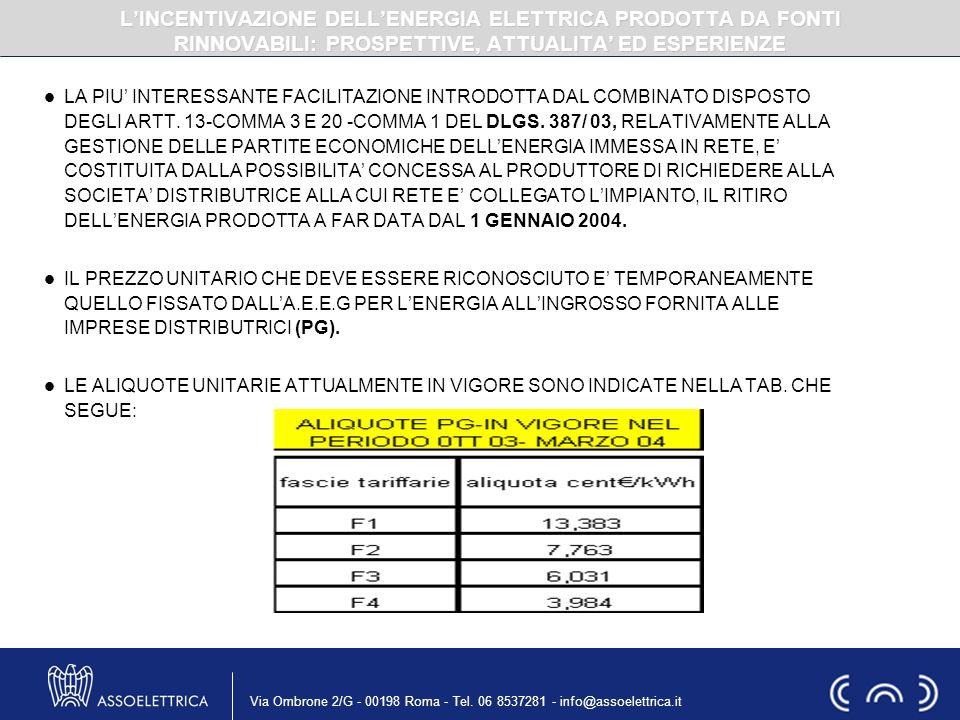 Via Ombrone 2/G - 00198 Roma - Tel. 06 8537281 - info@assoelettrica.it LA PIU INTERESSANTE FACILITAZIONE INTRODOTTA DAL COMBINATO DISPOSTO DEGLI ARTT.