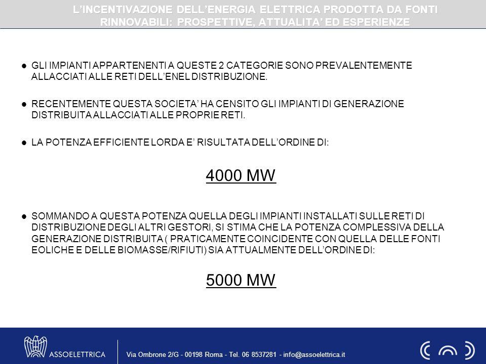Via Ombrone 2/G - 00198 Roma - Tel. 06 8537281 - info@assoelettrica.it GLI IMPIANTI APPARTENENTI A QUESTE 2 CATEGORIE SONO PREVALENTEMENTE ALLACCIATI