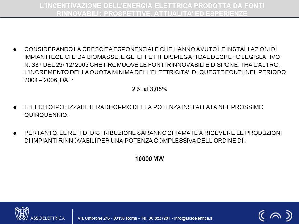Via Ombrone 2/G - 00198 Roma - Tel. 06 8537281 - info@assoelettrica.it CONSIDERANDO LA CRESCITA ESPONENZIALE CHE HANNO AVUTO LE INSTALLAZIONI DI IMPIA