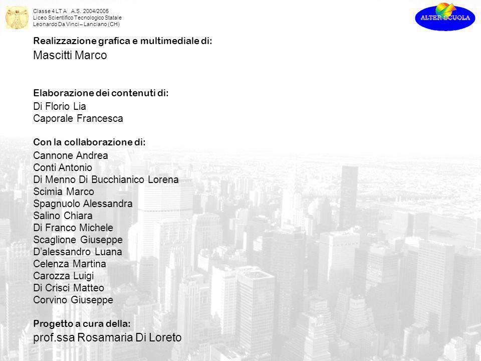 Classe 4 LT A A.S. 2004/2005 Liceo Scientifico Tecnologico Statale Leonardo Da Vinci – Lanciano (CH) Realizzazione grafica e multimediale di: Mascitti