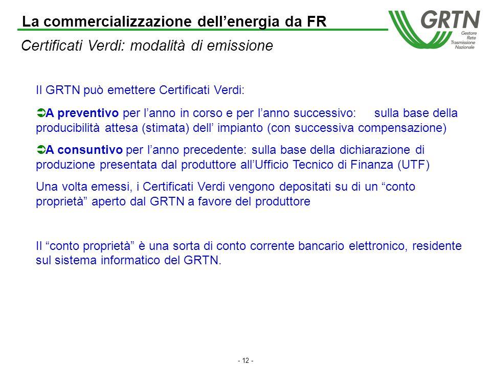 - 11 - Mercato dellenergia e mercato dei Certificati Verdi La commercializzazione dellenergia da FR