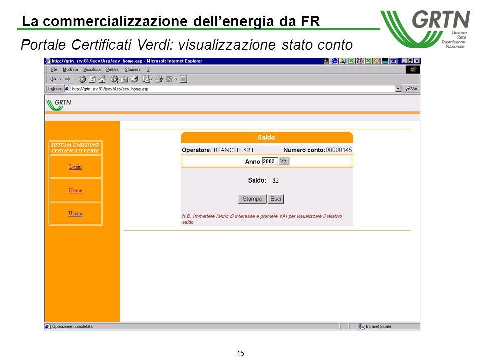 - 14 - Certificati Verdi: il portale web La commercializzazione dellenergia da FR