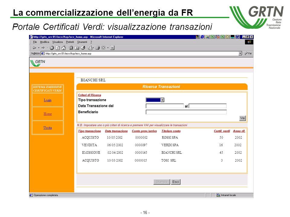 - 15 - Portale Certificati Verdi: visualizzazione stato conto BIANCHI SRL 82 La commercializzazione dellenergia da FR