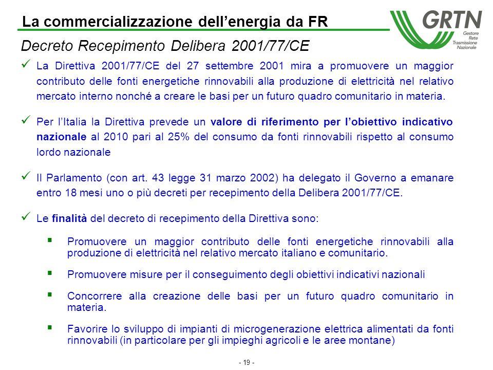 - 18 - Meccanismo CV: attività del GRTN Qualificazione degli impianti: per poter ottenere i CV gli impianti alimentati a fonti rinnovabili devono richiedere e ottenere dal GRTN unapposita qualificazione (IAFR).