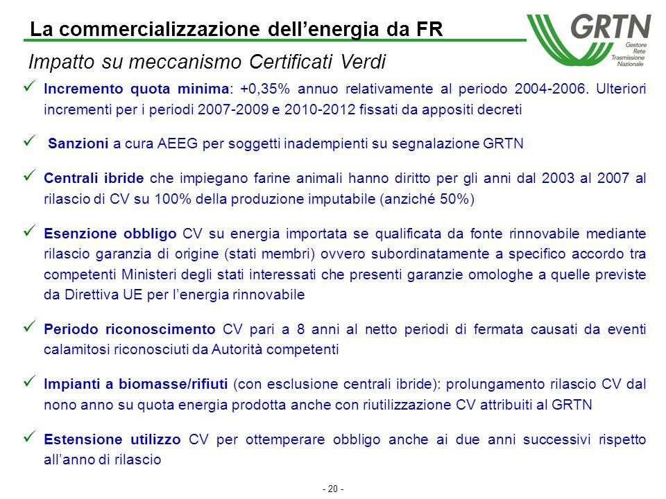 - 19 - La Direttiva 2001/77/CE del 27 settembre 2001 mira a promuovere un maggior contributo delle fonti energetiche rinnovabili alla produzione di elettricità nel relativo mercato interno nonché a creare le basi per un futuro quadro comunitario in materia.