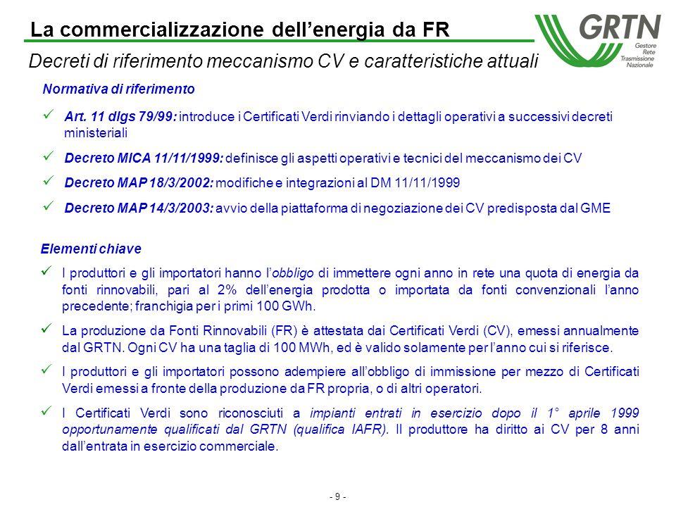 - 8 - Meccanismi di incentivazione a confronto (1) Garanzia di cessione energia a GRTN a prezzi incentivati in base ad apposite convenzioni (DM 21/11/2000) Lincentivo è differenziato per tecnologia e tipologia di fonte Il valore dellincentivo viene adeguato annualmente I costi dellincentivazione gravano direttamente sui consumatori finali del mercato libero e del mercato vincolato, mediante apposite maggiorazioni tariffarie (A3) Oltre alle fonti rinnovabili, vengono incentivate le c.d.