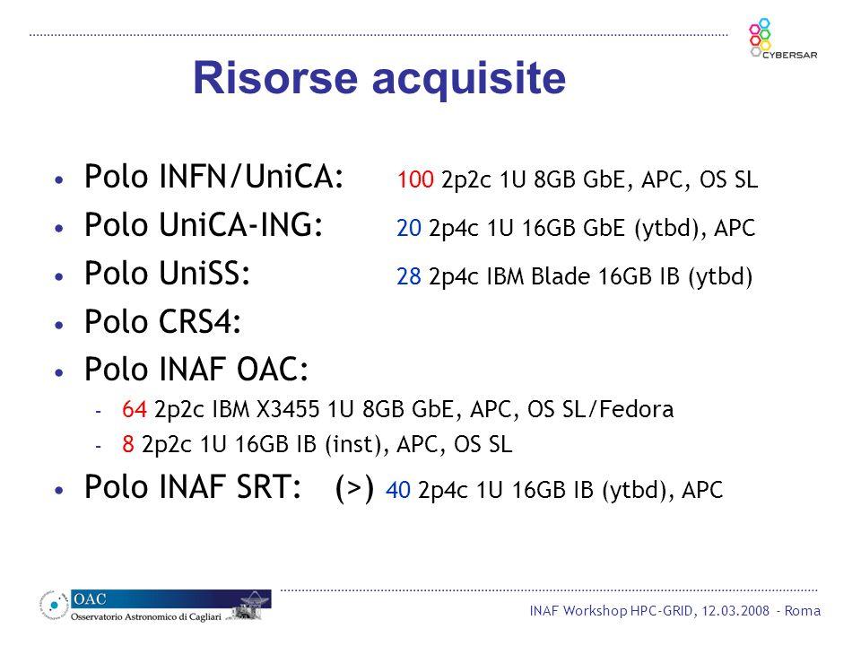 INAF Workshop HPC-GRID, 12.03.2008 - Roma Polo INFN/UniCA: 100 2p2c 1U 8GB GbE, APC, OS SL Polo UniCA-ING: 20 2p4c 1U 16GB GbE (ytbd), APC Polo UniSS: 28 2p4c IBM Blade 16GB IB (ytbd) Polo CRS4: Polo INAF OAC: – 64 2p2c IBM X3455 1U 8GB GbE, APC, OS SL/Fedora – 8 2p2c 1U 16GB IB (inst), APC, OS SL Polo INAF SRT: (>) 40 2p4c 1U 16GB IB (ytbd), APC Risorse acquisite