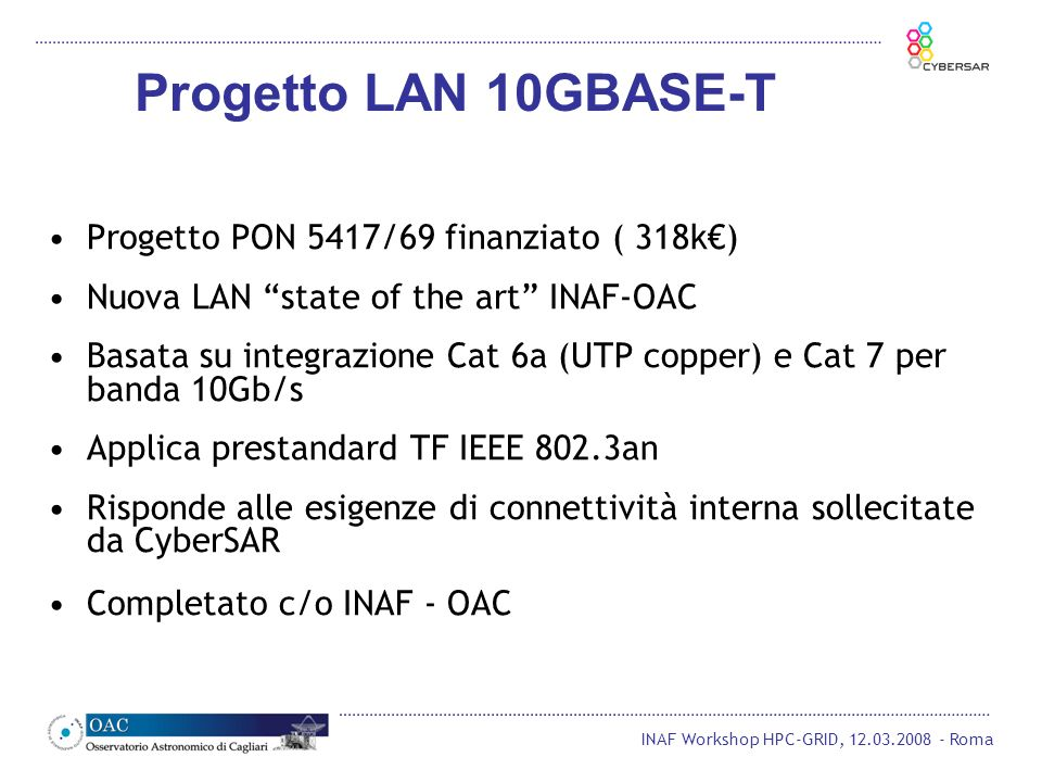 INAF Workshop HPC-GRID, 12.03.2008 - Roma Progetto LAN 10GBASE-T Progetto PON 5417/69 finanziato ( 318k) Nuova LAN state of the art INAF-OAC Basata su