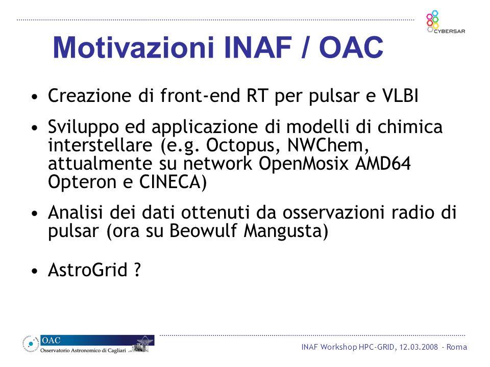 Motivazioni INAF / OAC Creazione di front-end RT per pulsar e VLBI Sviluppo ed applicazione di modelli di chimica interstellare (e.g. Octopus, NWChem,