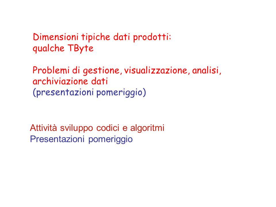 Dimensioni tipiche dati prodotti: qualche TByte Problemi di gestione, visualizzazione, analisi, archiviazione dati (presentazioni pomeriggio) Attività sviluppo codici e algoritmi Presentazioni pomeriggio