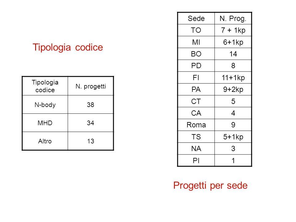 Tipologia codice N.progetti N-body38 MHD34 Altro13 Tipologia codice SedeN.