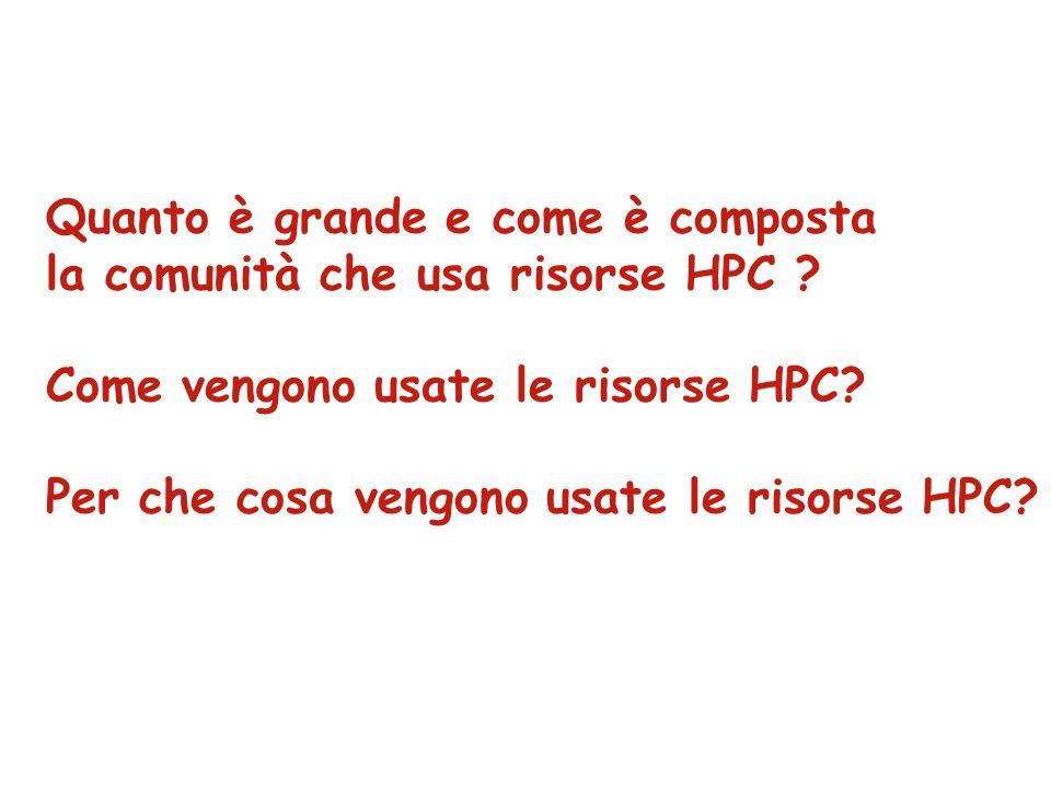 Quanto è grande e come è composta la comunità che usa risorse HPC .
