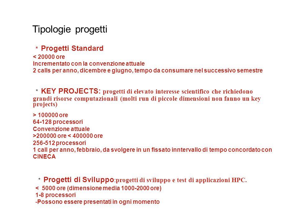 Tempo utilizzato Incremento tempo Key projects Tempo key projects 2008: 1000000 ore 57% totale Numero progetti 2006-2007 41 PI diversi Numero ricercatori coinvolti ~ 70 2008 - 3 Key Projects 6 gruppi hanno presentato key projects