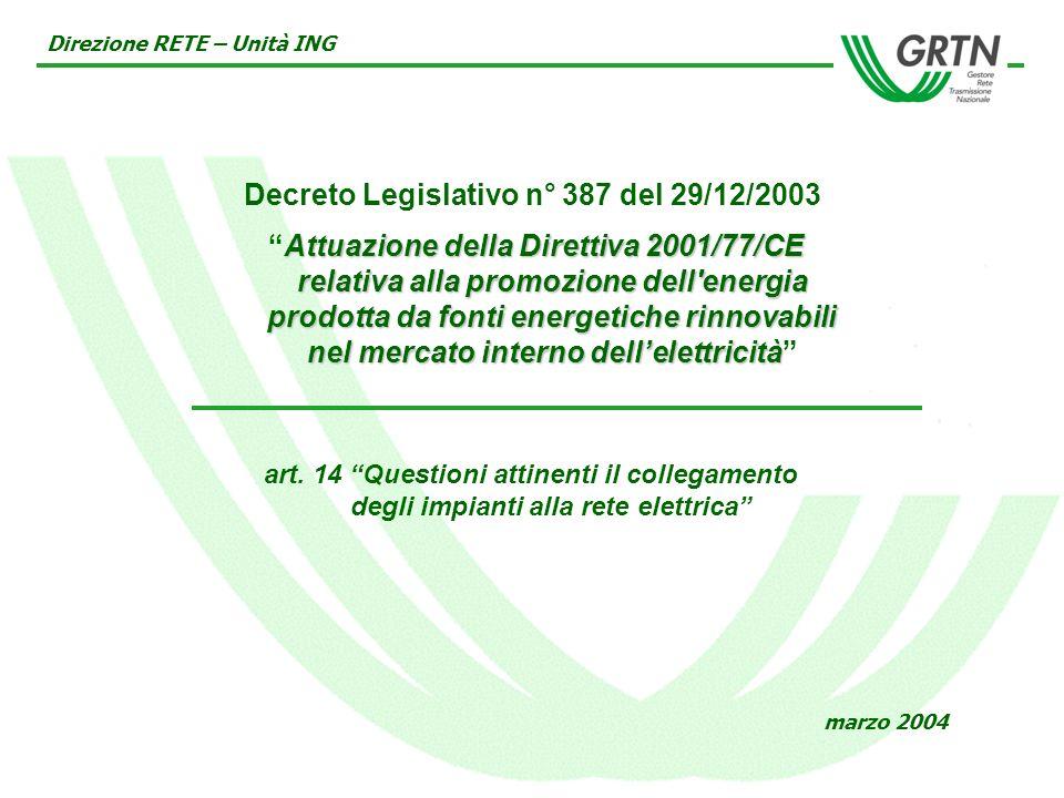 Decreto Legislativo n° 387 del 29/12/2003 Attuazione della Direttiva 2001/77/CE relativa alla promozione dell energia prodotta da fonti energetiche rinnovabili nel mercato interno dellelettricità Direzione RETE – Unità ING marzo 2004 art.