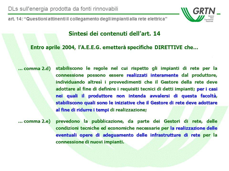 DLs sull energia prodotta da fonti rinnovabili Sintesi dei contenuti dellart.