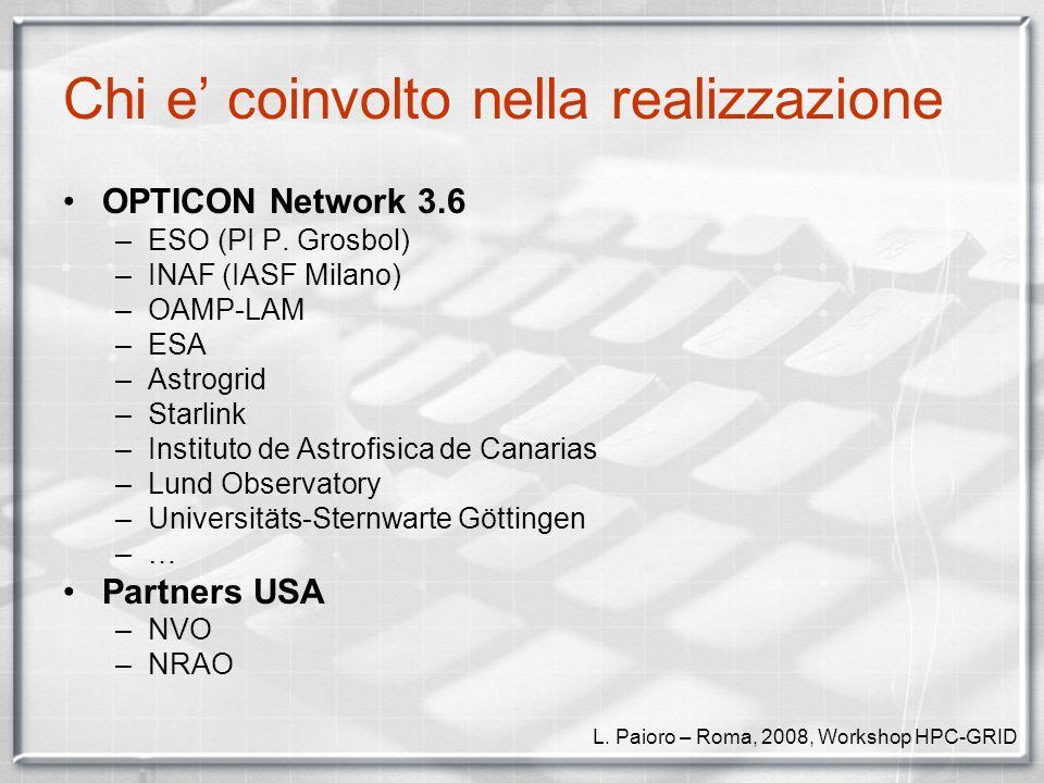 Lapproccio sperimentale dei prototipi USA –NRAO / NVO –OpenRTE/OpenMPI + WebcomG –VOClient + PLASTIC/SAMP Europa –INAF-IASF Milano / LAM Marseille –Task/Parameter modeling UML DBus (in studio ZeroCs Ice) C + Python + Java + XML –Trac: http://cosmos.iasf-milano.inaf.it/trac/fase Documentazione L.