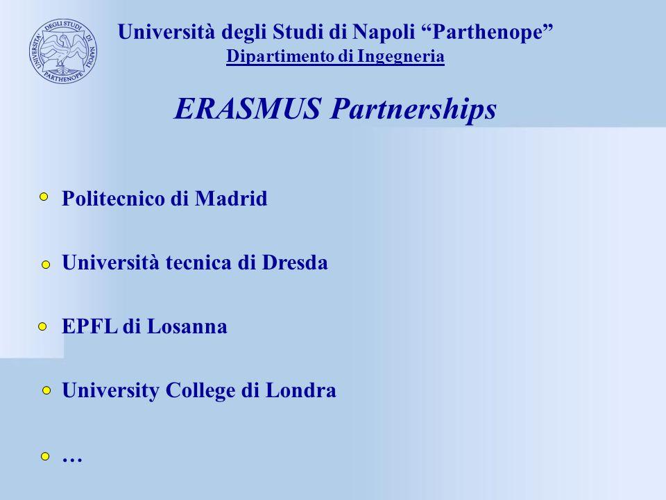 Università degli Studi di Napoli Parthenope Dipartimento di Ingegneria ERASMUS Partnerships Politecnico di Madrid Università tecnica di Dresda EPFL di