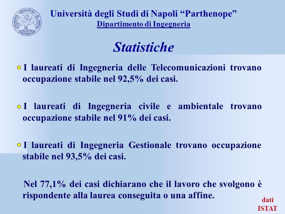 dati ISTAT I laureati di Ingegneria delle Telecomunicazioni trovano occupazione stabile nel 92,5% dei casi. I laureati di Ingegneria civile e ambienta