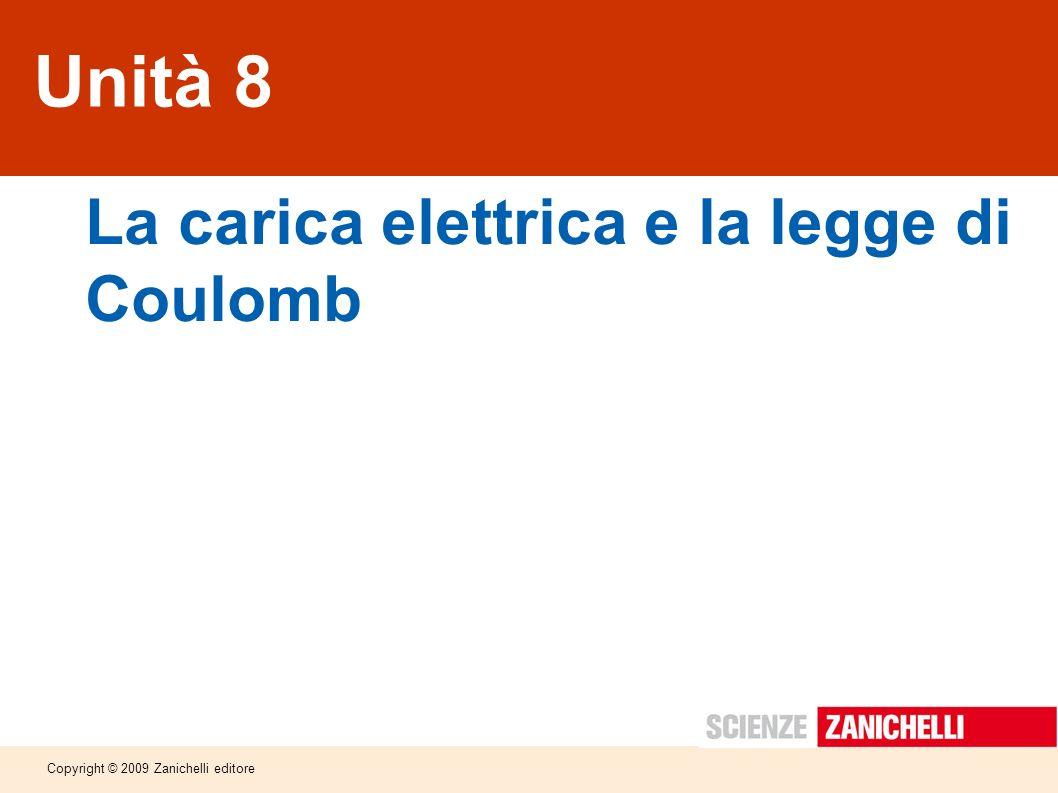 Copyright © 2009 Zanichelli editore Unità 8 La carica elettrica e la legge di Coulomb