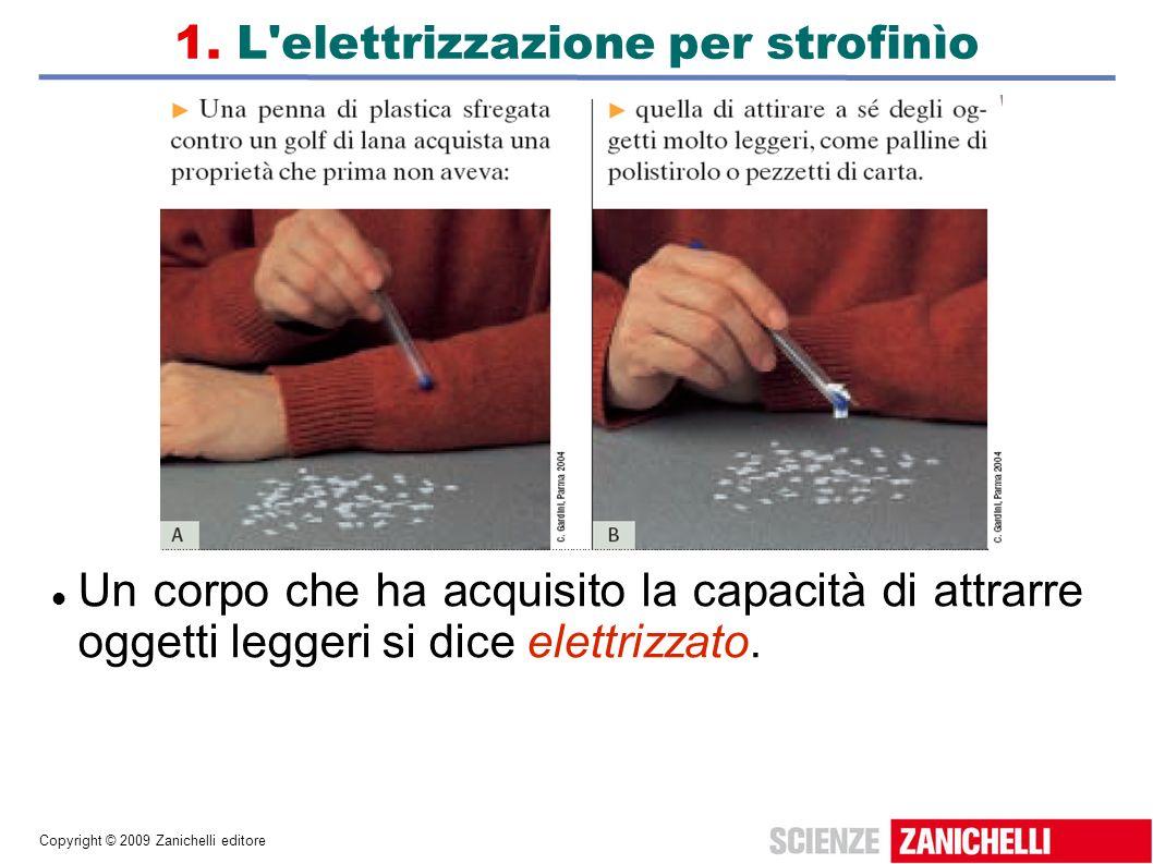 Copyright © 2009 Zanichelli editore 1. L'elettrizzazione per strofinìo Un corpo che ha acquisito la capacità di attrarre oggetti leggeri si dice elett