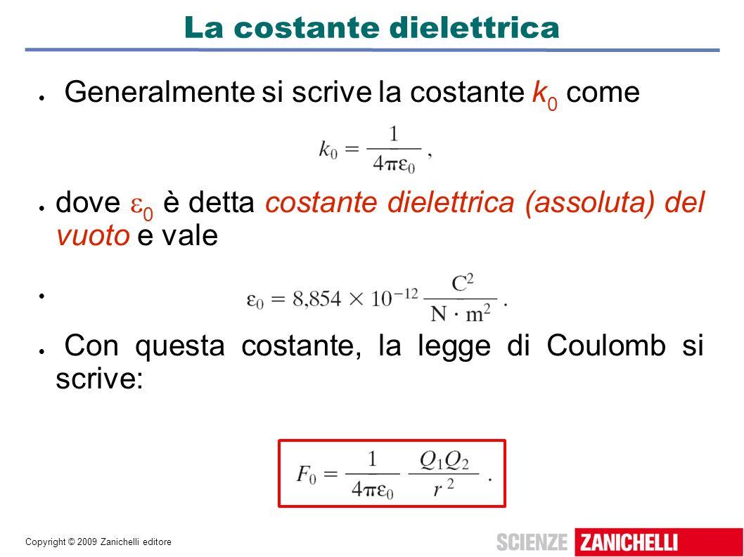 Copyright © 2009 Zanichelli editore La costante dielettrica Generalmente si scrive la costante k 0 come dove 0 è detta costante dielettrica (assoluta)