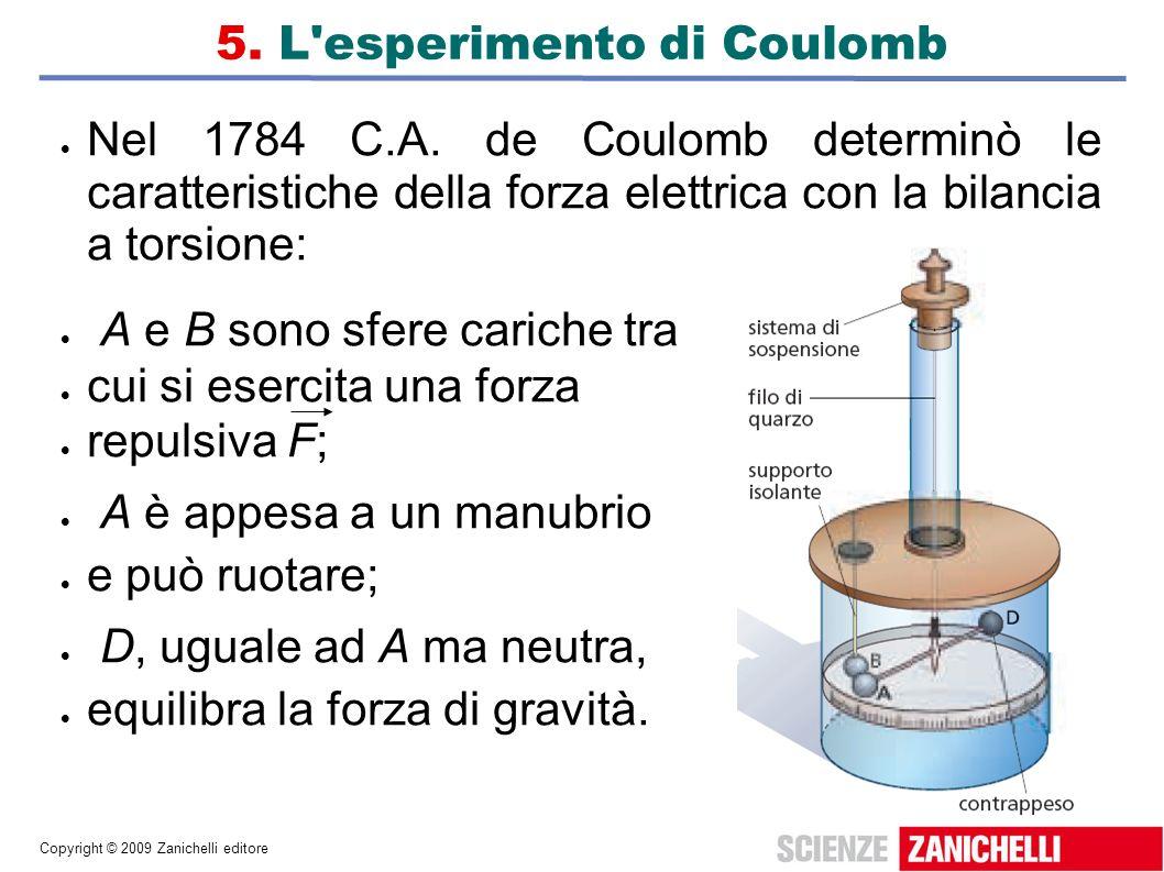 Copyright © 2009 Zanichelli editore 5. L'esperimento di Coulomb Nel 1784 C.A. de Coulomb determinò le caratteristiche della forza elettrica con la bil