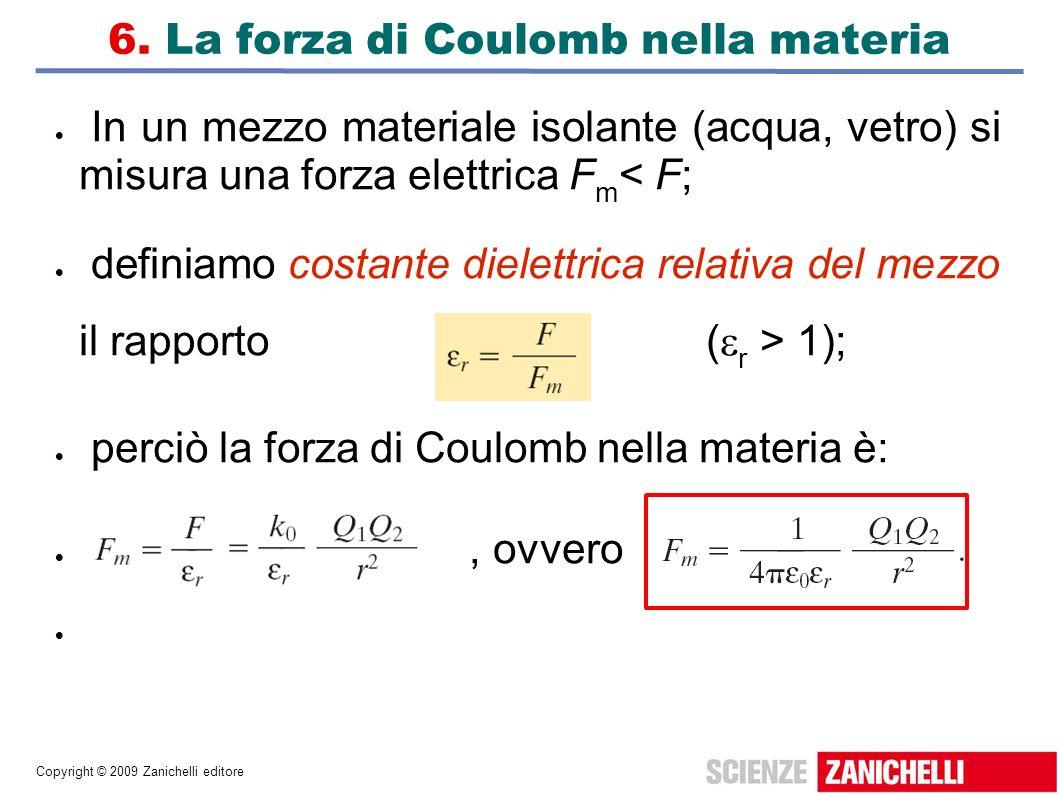 Copyright © 2009 Zanichelli editore 6. La forza di Coulomb nella materia In un mezzo materiale isolante (acqua, vetro) si misura una forza elettrica F