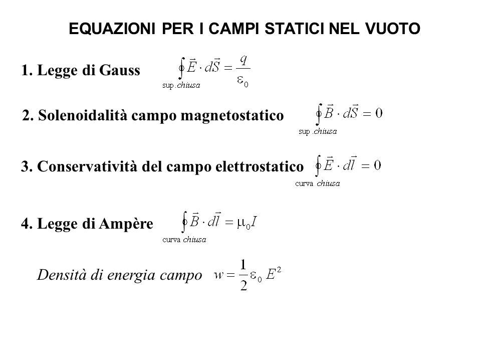 EQUAZIONI PER I CAMPI STATICI NEL VUOTO 1. Legge di Gauss 2. Solenoidalità campo magnetostatico 3. Conservatività del campo elettrostatico 4. Legge di