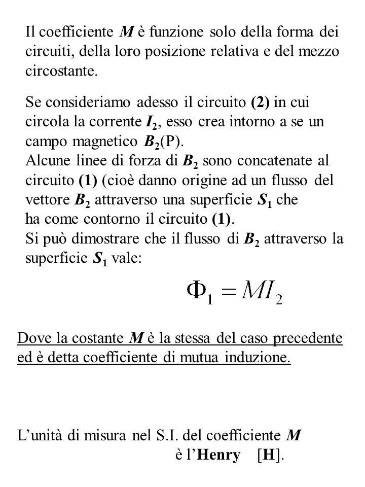 Il coefficiente M è funzione solo della forma dei circuiti, della loro posizione relativa e del mezzo circostante. Se consideriamo adesso il circuito