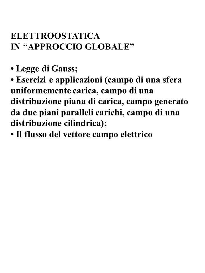 ELETTROOSTATICA IN APPROCCIO GLOBALE Legge di Gauss; Esercizi e applicazioni (campo di una sfera uniformemente carica, campo di una distribuzione pian