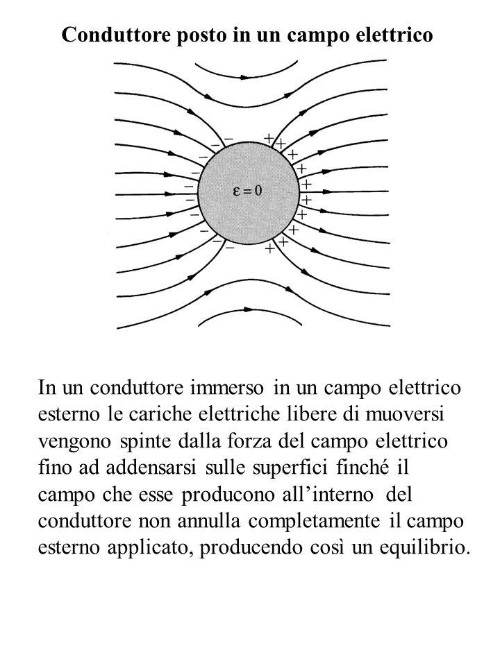 Conduttore posto in un campo elettrico In un conduttore immerso in un campo elettrico esterno le cariche elettriche libere di muoversi vengono spinte