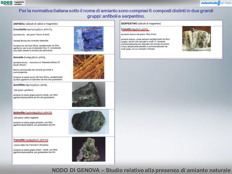 Per la normativa italiana sotto il nome di amianto sono compresi 6 composti distinti in due grandi gruppi: anfiboli e serpentino. NODO DI GENOVA – Stu