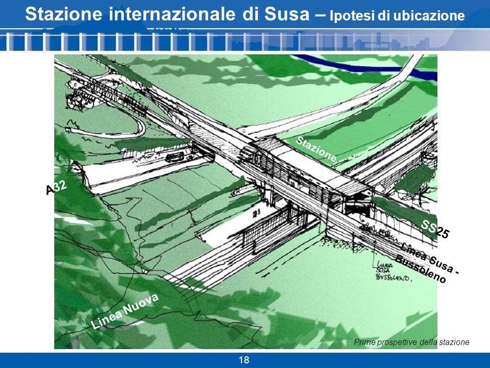 Stazione internazionale di Susa – Ipotesi di ubicazione 18 Linea Nuova A32 Linea Susa - Bussoleno SS25 Stazione Prime prospettive della stazione