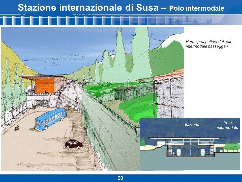 20 Stazione internazionale di Susa – Polo intermodale Prime prospettive del polo intermodale passeggeri Polo intermodale Stazione