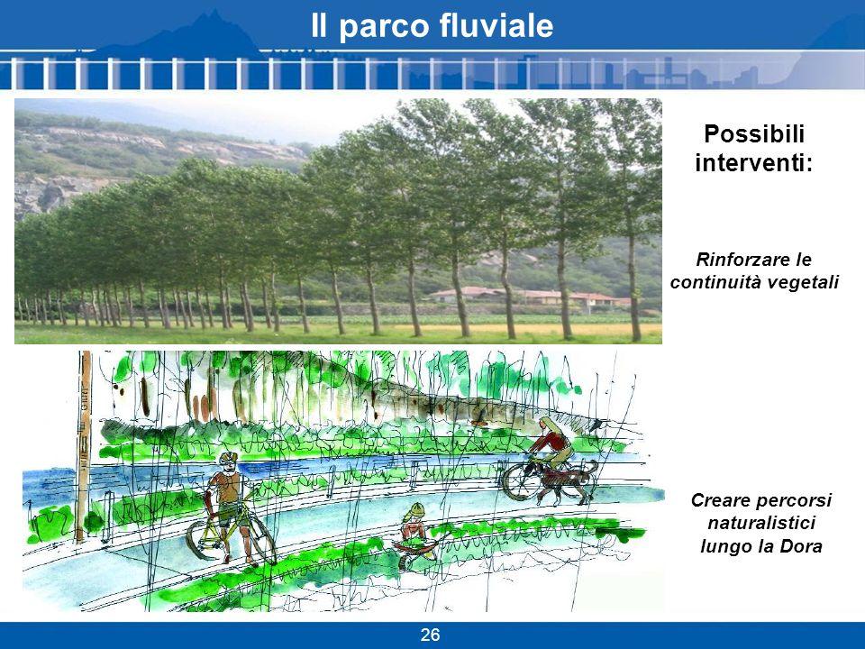 Il parco fluviale 26 Creare percorsi naturalistici lungo la Dora Possibili interventi: Rinforzare le continuità vegetali