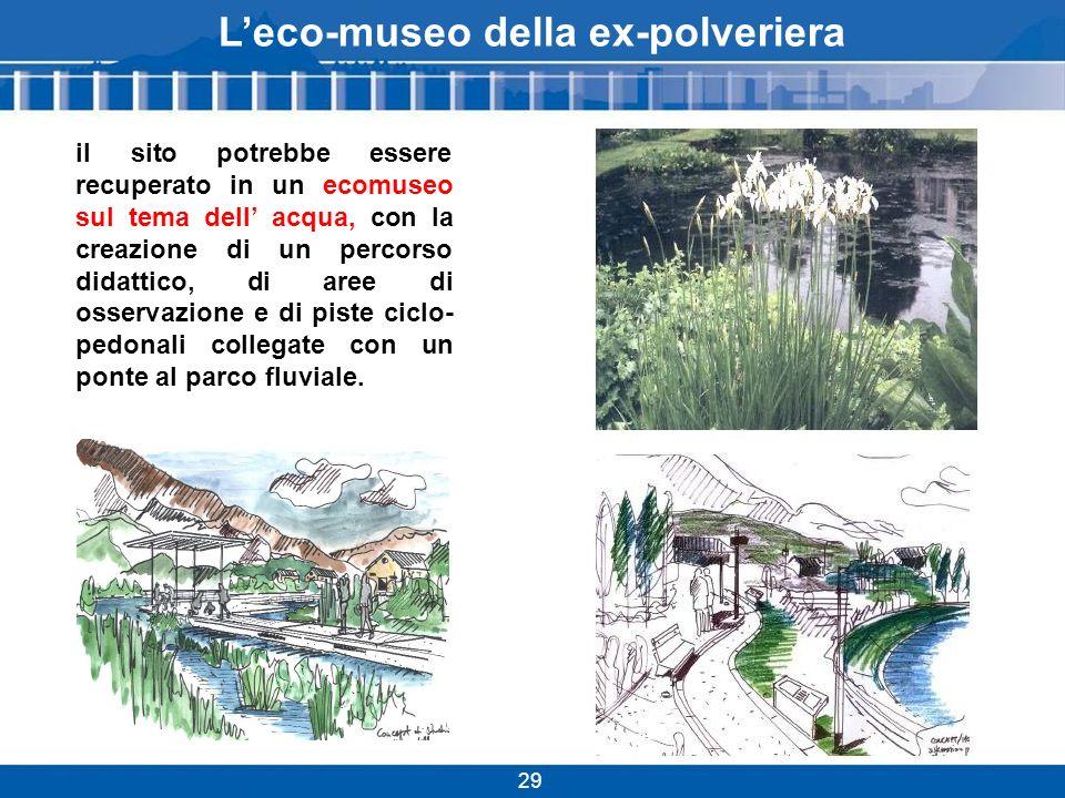 Leco-museo della ex-polveriera 29 il sito potrebbe essere recuperato in un ecomuseo sul tema dell acqua, con la creazione di un percorso didattico, di aree di osservazione e di piste ciclo- pedonali collegate con un ponte al parco fluviale.