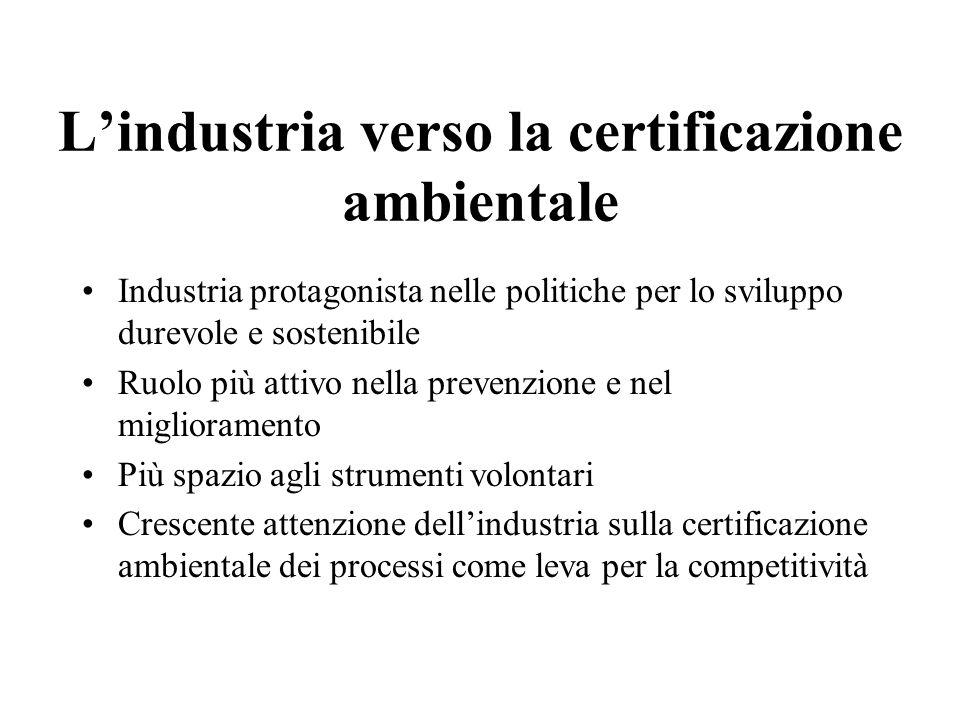 Lindustria verso la certificazione ambientale Industria protagonista nelle politiche per lo sviluppo durevole e sostenibile Ruolo più attivo nella prevenzione e nel miglioramento Più spazio agli strumenti volontari Crescente attenzione dellindustria sulla certificazione ambientale dei processi come leva per la competitività