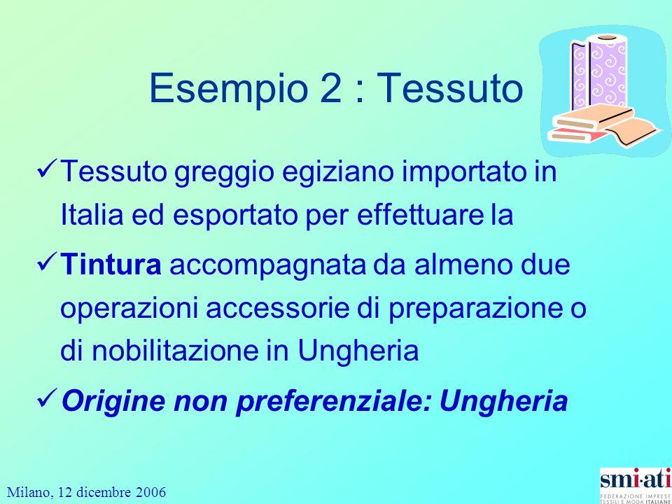Milano, 12 dicembre 2006 Esempio 2 : Tessuto Tessuto greggio egiziano importato in Italia ed esportato per effettuare la Tintura accompagnata da almen