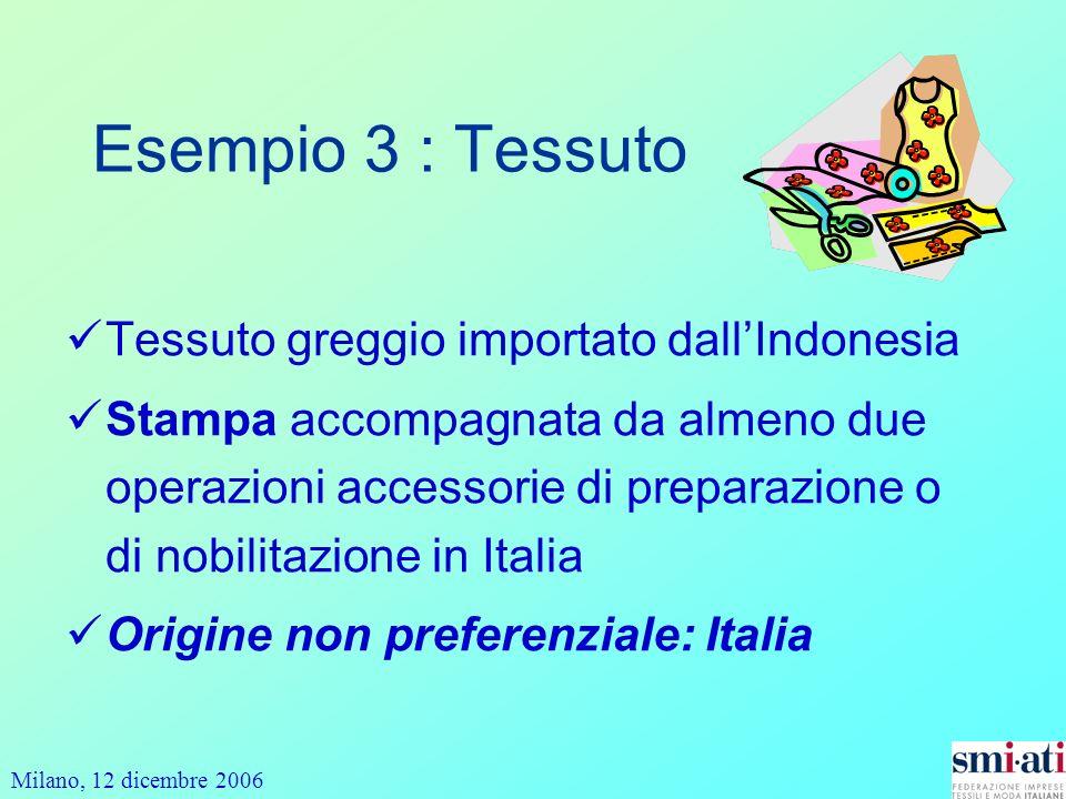 Milano, 12 dicembre 2006 Esempio 3 : Tessuto Tessuto greggio importato dallIndonesia Stampa accompagnata da almeno due operazioni accessorie di preparazione o di nobilitazione in Italia Origine non preferenziale: Italia