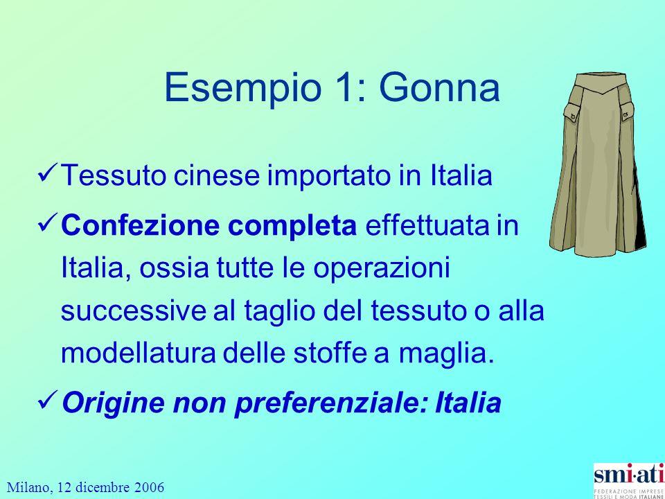 Milano, 12 dicembre 2006 Esempio 1: Gonna Tessuto cinese importato in Italia Confezione completa effettuata in Italia, ossia tutte le operazioni successive al taglio del tessuto o alla modellatura delle stoffe a maglia.