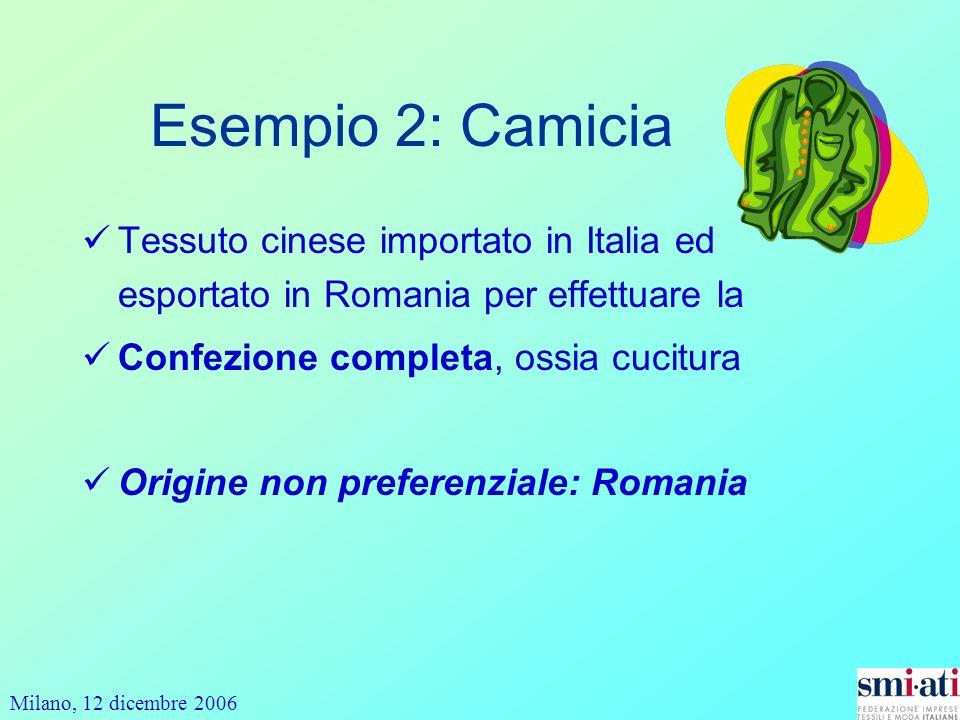 Milano, 12 dicembre 2006 Esempio 2: Camicia Tessuto cinese importato in Italia ed esportato in Romania per effettuare la Confezione completa, ossia cucitura Origine non preferenziale: Romania