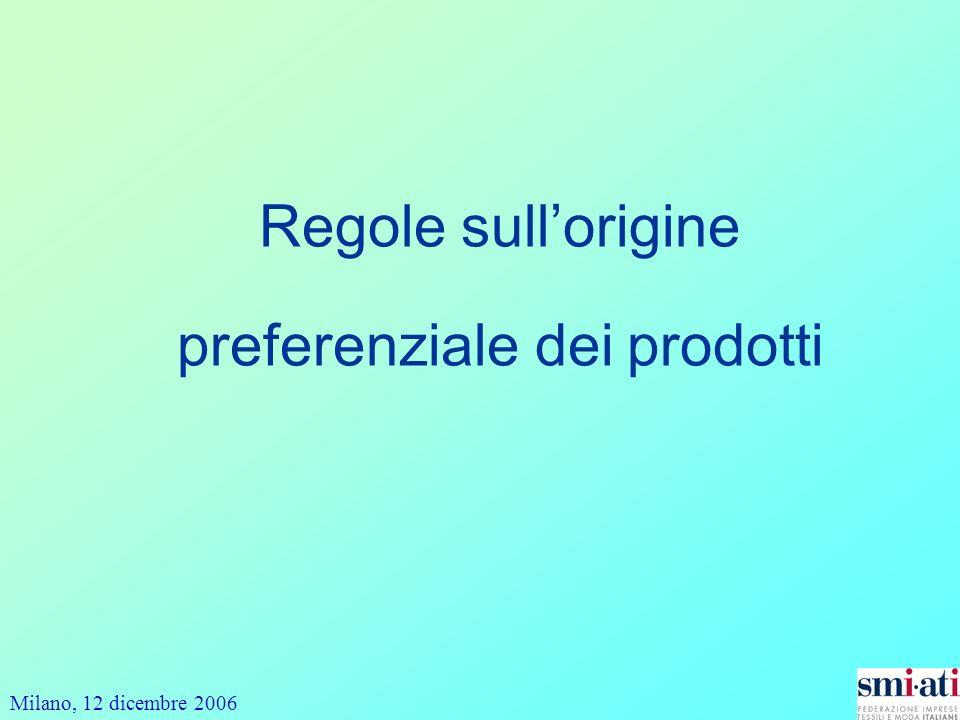 Milano, 12 dicembre 2006 Regole sullorigine preferenziale dei prodotti
