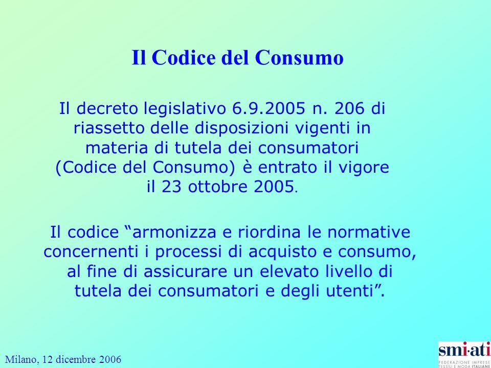 Milano, 12 dicembre 2006 Il Codice del Consumo Il decreto legislativo 6.9.2005 n. 206 di riassetto delle disposizioni vigenti in materia di tutela dei