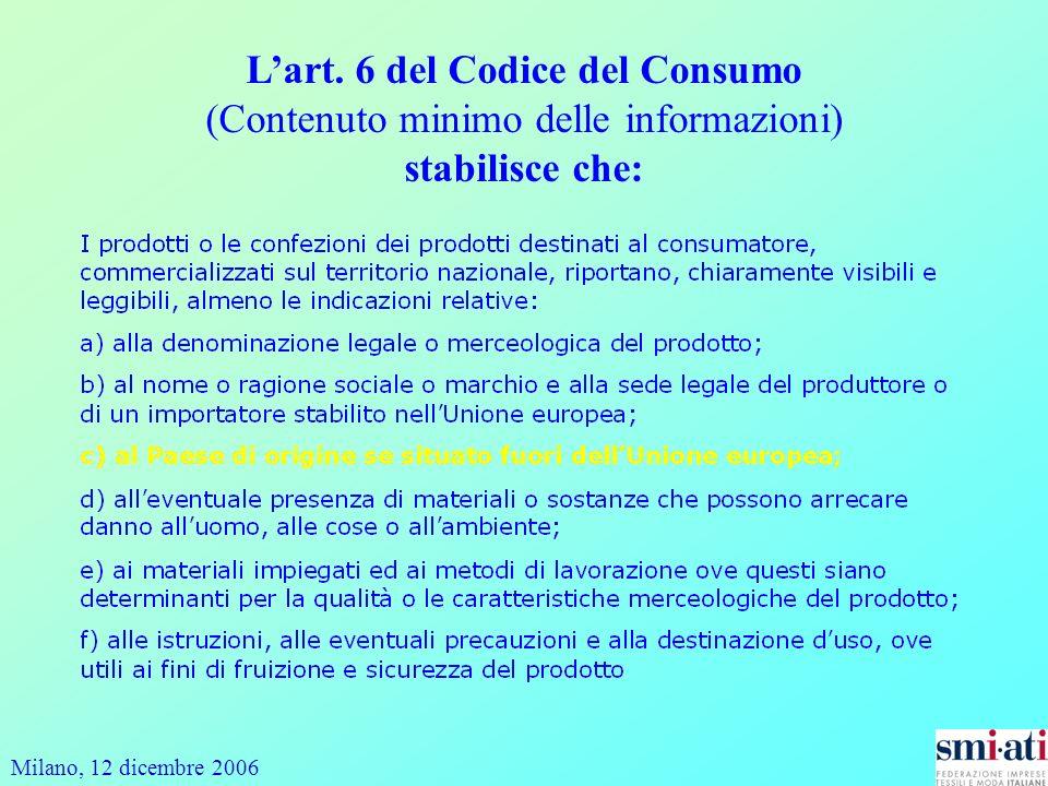 Milano, 12 dicembre 2006 Lart. 6 del Codice del Consumo (Contenuto minimo delle informazioni) stabilisce che: