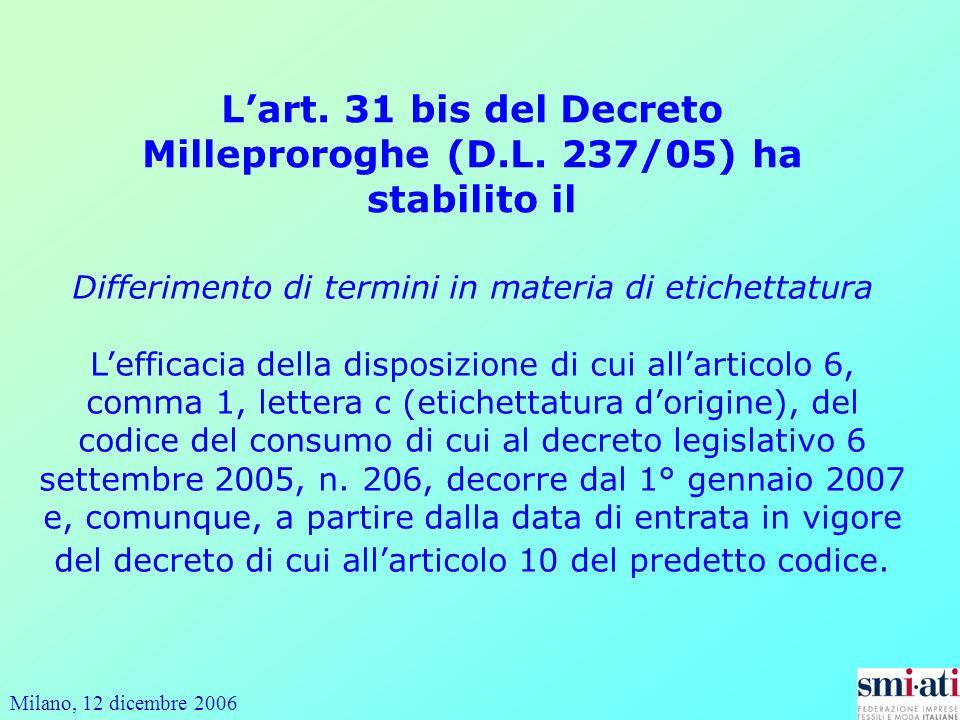 Milano, 12 dicembre 2006 Differimento di termini in materia di etichettatura Lefficacia della disposizione di cui allarticolo 6, comma 1, lettera c (etichettatura dorigine), del codice del consumo di cui al decreto legislativo 6 settembre 2005, n.