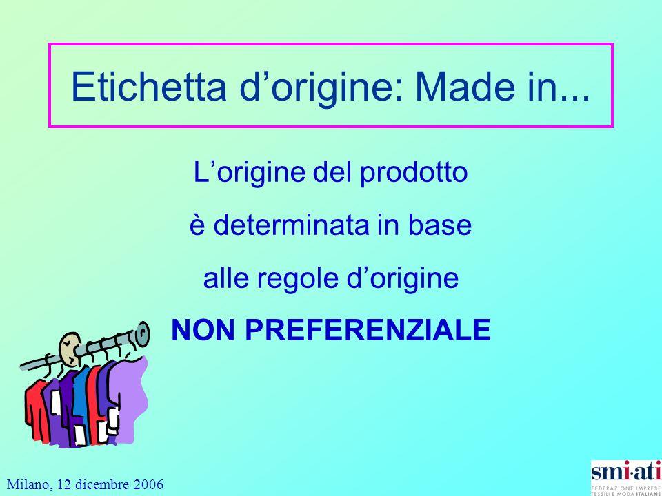 Milano, 12 dicembre 2006 Etichetta dorigine: Made in... Lorigine del prodotto è determinata in base alle regole dorigine NON PREFERENZIALE