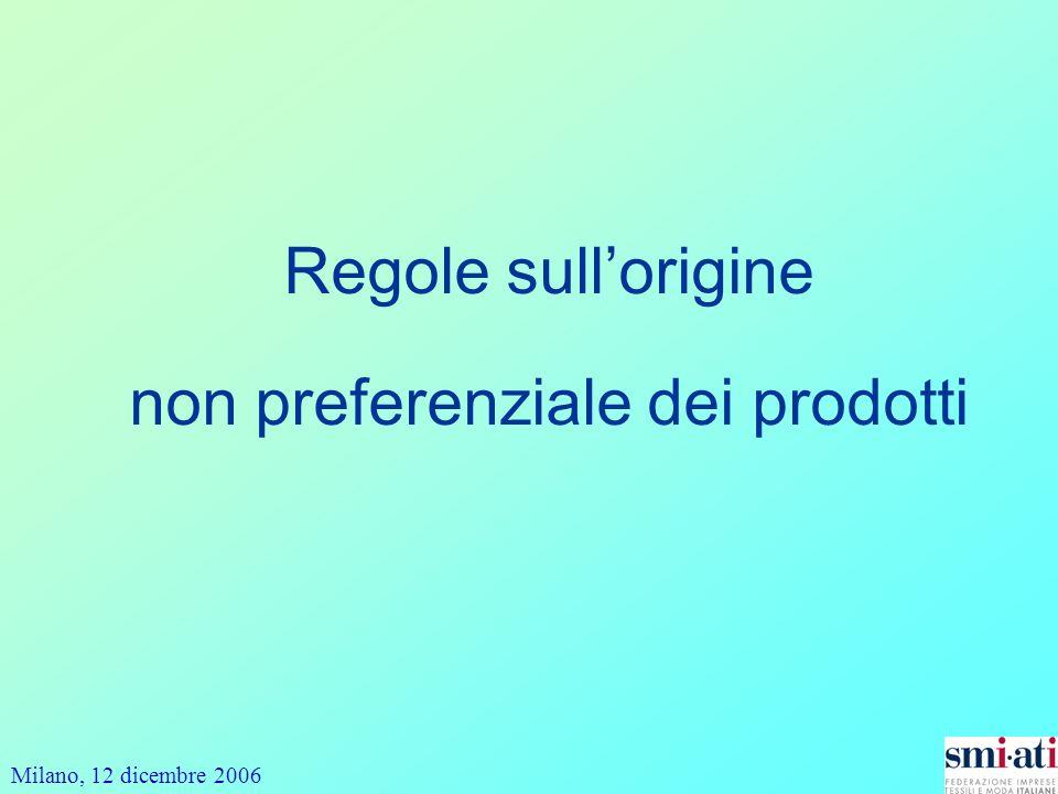 Milano, 12 dicembre 2006 Regole sullorigine non preferenziale dei prodotti